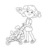 Farbton-Seiten-Entwurf des Karikaturmädchens spielend mit Puppen mit St. lizenzfreie abbildung