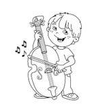 Farbton-Seiten-Entwurf von Karikatur Jungen das Cello spielend Stockfotografie