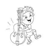 Farbton-Seiten-Entwurf von Karikatur Jungen das Cello spielend Stockbild