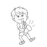 Farbton-Seiten-Entwurf von Karikatur Jungen das Saxophon spielend Stockfotos