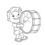 Farbton-Seiten-Entwurf von Karikatur Jungen die Trommel spielend Stockfoto