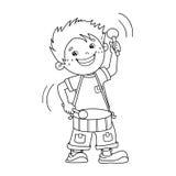 Farbton-Seiten-Entwurf von Karikatur Jungen die Trommel spielend Stockbilder