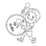 Farbton-Seiten-Entwurf von Karikatur Jungen die Trommel spielend Lizenzfreies Stockbild