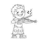 Farbton-Seiten-Entwurf von Karikatur Jungen die Violine spielend Stockbild