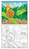 Farbton-Seiten-Karikatur-Illustration der Schnecke für Kinder Stockfotografie