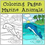 Farbton-Seiten: Marine Animals Kleiner netter Delphin springt stock abbildung