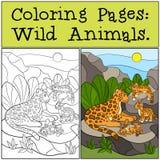 Farbton-Seiten: Wilde Tiere Mutterjaguar mit ihren Jungen Lizenzfreies Stockbild