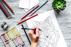 Farbtonbild für Erwachsene auf Draufsicht des hölzernen Hintergrundes Lizenzfreies Stockbild