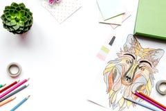 Farbtonbild für Erwachsene auf weißem Draufsichtmodell des Hintergrundes Lizenzfreie Stockfotos