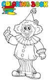 Farbtonbuch mit lustigem Clown Stockbild