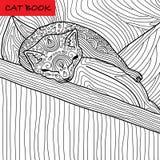 Farbtonkatzenseite für Erwachsene Lustiges Babykätzchen, das auf dem Kissen schläft Hand gezeichnete Illustration mit Mustern Lizenzfreie Stockfotografie