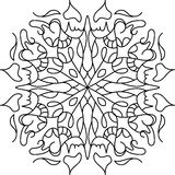 Farbtonmandala mit Florenelementen Stockfoto