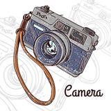 Farbtonschmutzbeschaffenheit, die Retro- gezeichnetes Design der Kamera Hand hängt lizenzfreie abbildung