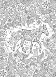 Farbtonseite im zentangle spornte Art an Laufendes Pferd auf blühender Wiese Vertikaler Aufbau Stockbild