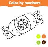 Farbtonseite mit Halloween-Süßigkeit Farbe durch bedruckbare Tätigkeit der Zahlen lizenzfreie abbildung