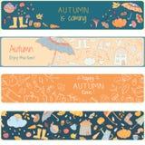 Farbtonseite mit Herbstikonen Stockbilder