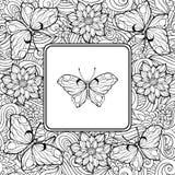Farbtonseite mit Schmetterling in der Mitte und im Muster der Blume Lizenzfreies Stockbild
