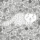Farbtonseite Von Hand gezeichnet Gesicht der illustration Perfektes antistress Eine fette rote Katze umgeben durch Blumen, Fische Lizenzfreies Stockfoto