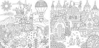 Farbtonseiten Malbuch für Erwachsene Färbungsbilder mit Fantasieschlössern und Häuser gezeichnet in zentangle Art Vektor lizenzfreie abbildung