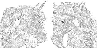 Farbtonseiten Malbuch für Erwachsene Farbtonbilder mit dem Fantasiemädchen und Einhornpferd gezeichnet in zentangle Art Vektor stock abbildung