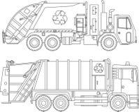 Farbtonseiten Satz flache lineare Ikonen der verschiedenen netten Müllwagen lokalisiert auf weißem Hintergrund Auch im corel abge lizenzfreie abbildung