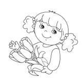 Farbtonseitenentwurf des Mädchens mit Blumenstrauß von Tulpen Stockfoto