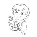 Farbtonseitenentwurf des netten Jungen mit stieg in der Hand Stockbilder