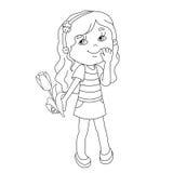 Farbtonseitenentwurf des schönen Mädchens mit Tulpe in der Hand Stockbilder