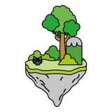 Farbtropische Büsche und -baum in der Flossinsel vektor abbildung