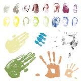 Farbunterlegte Hand- und Fingerspuren Stockfoto