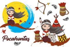 Farbvektor-Illustrations-gesetztes Karikatur-Bild der Clipart-POCAHONTAS stockfoto