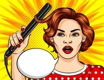 Farbvektor im komischen Artmädchen der Pop-Art macht Frisur Schönheit, die Haarlockenwickler hält stock abbildung