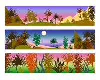 Farbvektorillustrationen von Landschaften in den purpurroten und rosa Farben lizenzfreie abbildung