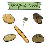 Farbvon hand gezeichnetes Lebensmittel eingestellt mit Brot Lizenzfreie Stockfotos