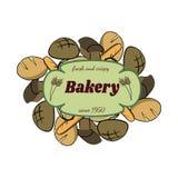 Farbvon hand gezeichnetes Lebensmittel eingestellt mit Brot Stockfoto