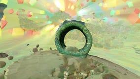 Farbwürfel und quadratische Statue des Ringes vektor abbildung
