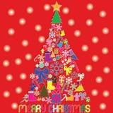 Farbweihnachtsikonen sind- Weihnachtsbaum auf rotem Hintergrund und s Stock Abbildung