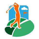 Farbweinlese-Golfclubemblem stock abbildung
