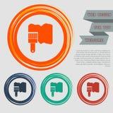Farby muśnięcia ikona na czerwonym, błękitny, zielony, pomarańcze zapina dla twój projekta z astronautycznym tekstem i strony int Obrazy Royalty Free