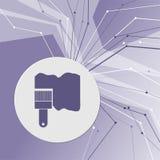 Farby muśnięcia ikona na purpurowym abstrakcjonistycznym nowożytnym tle Linie w wszystkie kierunkach Z pokojem dla twój reklamy Fotografia Stock
