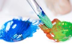 Farby muśnięcia paleta i uderzenie Obraz Stock