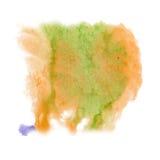 Farby pluśnięcia koloru atramentu akwarela odizolowywa wapna uderzenia splatter watercolour aquarel pomarańczowego muśnięcie Fotografia Stock