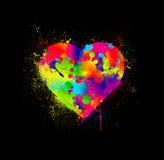 Farby splatter serce. Wektorowa ilustracja ilustracja wektor