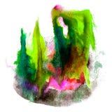 Farby zieleń, czarny uderzenie splatters akwarelę Fotografia Royalty Free