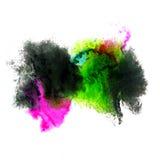 Farby zieleń, menchii uderzenie splatters akwarelę Fotografia Stock