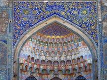 Farcadedetails van Abdulaziz Khan Madrassa in Boukhara, Oezbekistan Royalty-vrije Stock Afbeelding