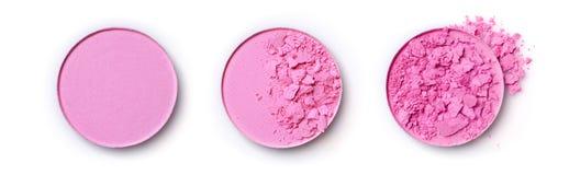 Fard à joues brisé rose rond pour le maquillage comme échantillon de produit cosmétique Image libre de droits