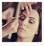 Fards à paupières de maquillage Brosse de fard à paupières Photographie stock