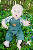 Fare da baby-sitter sciocco fra i fiori Fotografia Stock