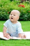 Fare da baby-sitter sveglio sull'erba Immagine Stock Libera da Diritti
